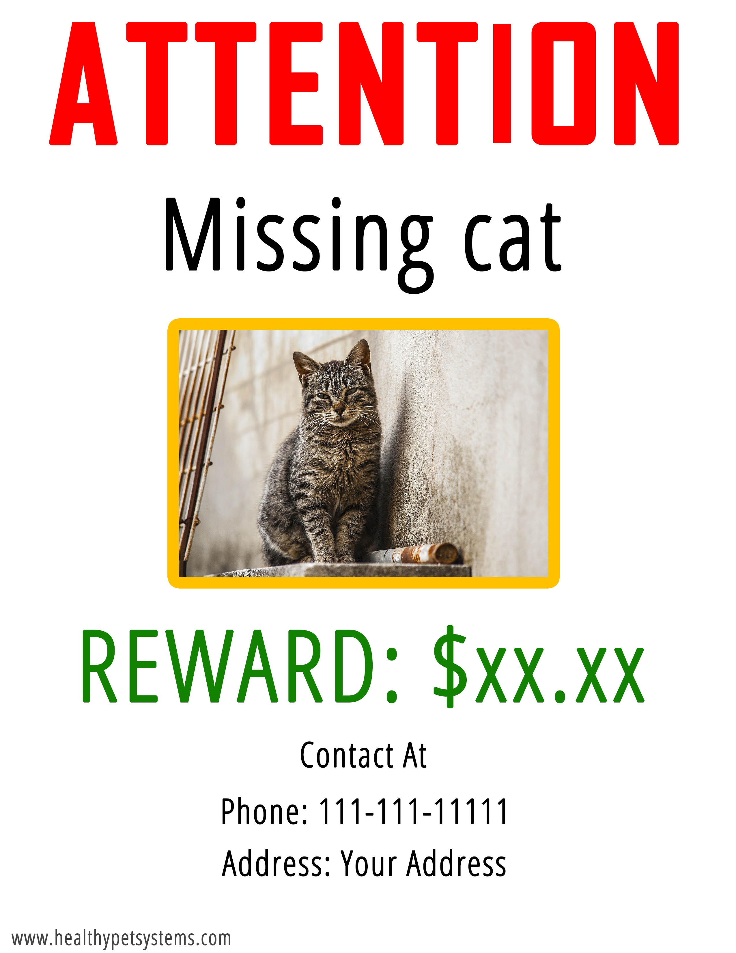 Missing or Lost Cat poster download