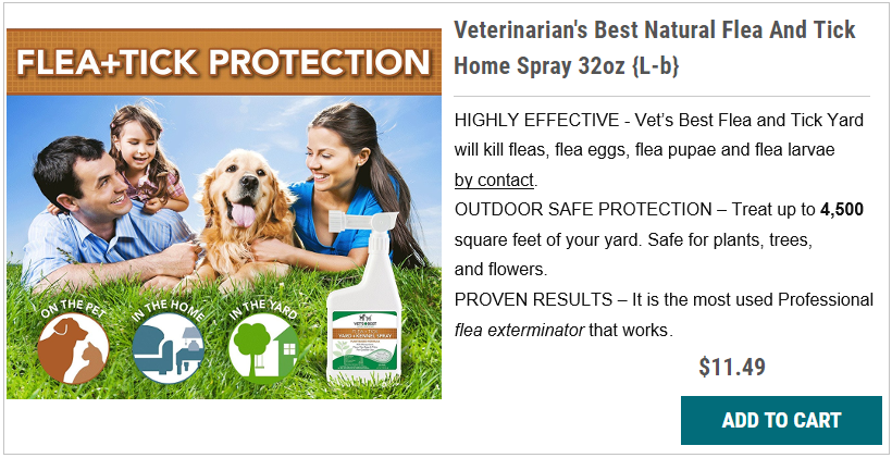 Veterinarian's Best Natural Flea And Tick Yard Spray 32oz